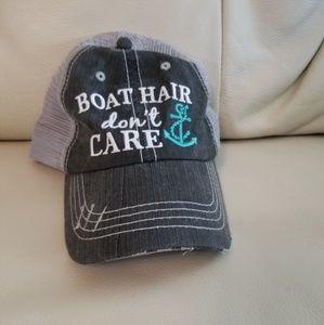 """Boat hair, don't care"" ballcap"